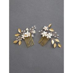 Gold Leaf Bridal Hair Comb Freshwater Pearl and Crystal Wedding Hair... ($40) ❤ liked on Polyvore featuring accessories, hair accessories, bride hair accessories, vintage hair accessories, bridal hair pins, gold bridal hair accessories and gold hair pins