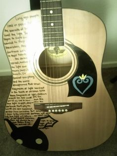Kingdom Hearts guitar Would someone like to do this to my guitar? I seriously lack any drawing abilities.