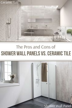 The Pros and Cons of Shower Wall Panels vs. Ceramic Tile The Pros and Cons of Shower wall panels vs ceramic tile Laminate Wall Panels, Pvc Wall Panels, Bathroom Wall Panels, Shower Wall Panels, Wall Tile, Cheap Bathroom Remodel, Shower Remodel, Bathroom Renovations, Bathroom Ideas