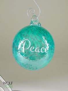 Blown Glass Tree Ornament Silver Peace Etched Ball Deep Teal Blue Green Speckle