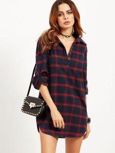 6ba9e946213 Long Sleeve Red Plaid Women s Shirt Dress