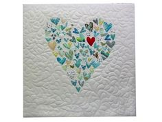 Heart quilt- oh I love the blues with one red heart! Beautiful!