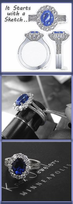 This vintage-inspired engagement ring is mesmerizing with a 2.20 carat oval cut blue sapphire surrounded by a dazzling halo. This intricate design is adorned with micro pavé diamonds leading down its split shank. The side profile reveals a beautifully crafted basket with micro pavé embellishments. Click on pin to learn more.