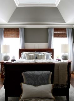 Giveaway and Reveal!  My Master Bedroom Makeover with Sherwin-Williams window treatment, wall color