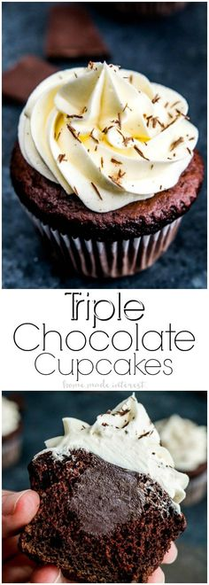 Triple Chocolate Cupcakes | These decadent Triple Chocolate Cupcakes are filled with a creamy chocolate ganache and topped with a luscious white chocolate frosting! It's a rich chocolate dessert recipe everyone will love. Make this cupcake recipe for your sweetie as a Valentine's Day dessert recipe and show them how much you love them! #chocolate #cupcake #dessertrecipe #dessert #valentinesday via @hmiblog