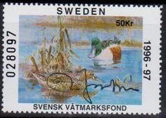Sweden Duck Conservation Stamp. 1996-97 Signed by the Designer of the stamp.