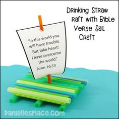 Drinking Straw Raft with Bible Verse Sail