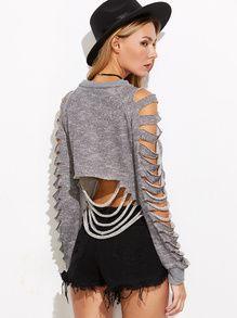 Grey Raglan Sleeve Ripped Raw Hem Crop Sweatshirt