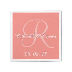 Monogram Coral Pink Stylish Color Design Wedding Paper Napkin