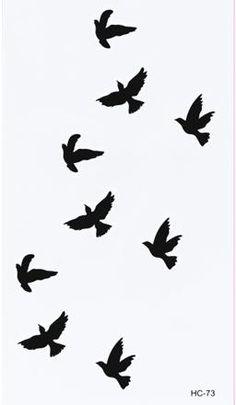 Women Sexy Finger Wrist Flash Fake Tattoo Stickers Liberty Small Birds Fly Design Waterproof Temporary Tattoos Sticker C5085