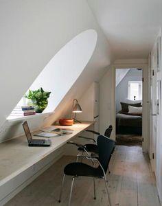 Great use of attic slopes - those are pretty common in European architecture.