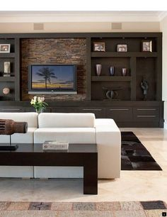 Family room tv wall ideas living room wall wall units for living room modern wall units Tv Wall Mount Designs, Wall Unit Designs, Tv Wall Design, Living Room Wall Units, Living Room Modern, Living Room Designs, Bookcase Tv Stand, Bookcase Wall Unit, Entertainment Center Wall Unit