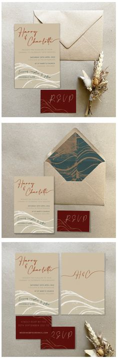 Unique Wedding Invitations, Wedding Stationery, Wave Design, Paper Envelopes, Business Card Size, Brown Paper, Envelope Liners, Save The Date, Earthy