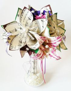 Music and 4 Lilies Bridal Bouquet- 8 inch, 19 paper flowers, one of a kind, made to order, destination wedding, 1st anniversary