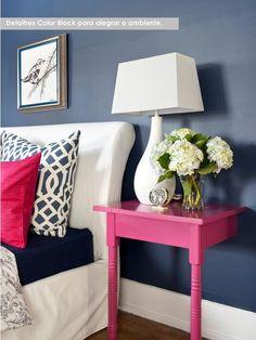 Azul marinho & Pink - criado mudo de mesa cortada no meio