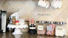 DIY holiday drink station + video – MissLizHeart Best Picture For healthy food for school For Your Taste You are looking for something, and it is going to tell you … Christmas Drinks, Holiday Drinks, Diy Christmas, Holiday Fun, Drinks Alcohol Recipes, Alcoholic Drinks, Home Coffee Stations, Drink Stations, Hot Chocolate Bars