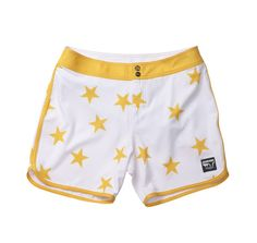 The Standard hotels team with Quicksilver to produce signature apparel - Standard / Quiksilver OG Scallop White and Yellow Stars Boardshorts