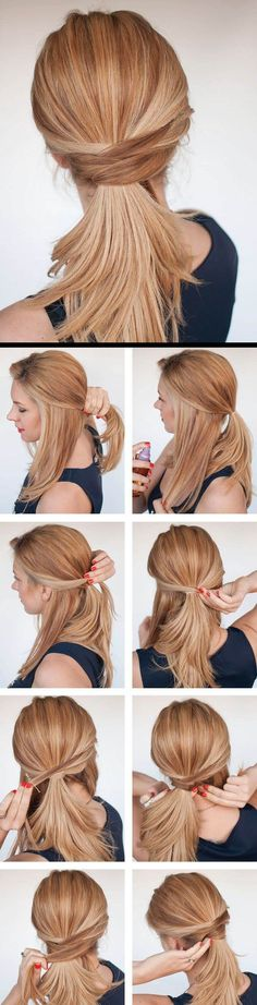 3 chic ponytail tutorials to lift your everyday hair game - Hair Romance - Hair Romance - The chic twisted ponytail tutorial - Easy Work Hairstyles, Fast Hairstyles, Everyday Hairstyles, Ponytail Hairstyles, Hair Updo, Trendy Hairstyles, Beautiful Hairstyles, Office Hairstyles, Medium Hairstyles