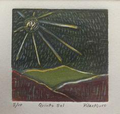 """Título: """"Quinto sol"""" Técnica: Xilografia a  4 placas. Medidas: 10 x 10 cms"""