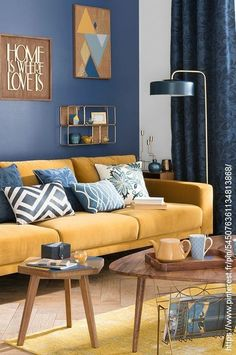 These are the ideas for living room paint colors, find your own personality color for the living room. The living room is not just personal space. Living Room Color Schemes, Paint Colors For Living Room, Living Room Grey, Room Colors, Living Room Designs, Blue And Yellow Living Room, Living Room Color Ideas Yellow, Bedroom Yellow, Colourful Living Room