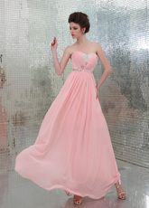 Pink Sweetheart Neck A-line Beading Rhinestone Chiffon Evening Dress - Milanoo.com