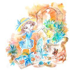 "Garden Girl Ink Illustration 5"" x 7"" Colorful Botanical Art Print #inktober"