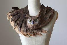 Vilten sjaals - Good Owl stole - felted wool animal scarf - Een uniek product van celapiu op DaWanda
