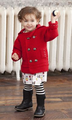 Vickie Howell for Caron, free Pea-wee Coat pattern!