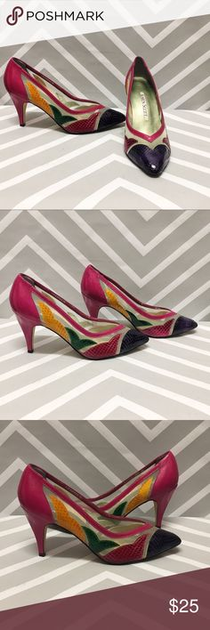 Vintage Karen Scott Mesh Colorful Heels Add a splash of color to any outfit with these adorable vintage pumps by Karen Scott. These dreamy heels are in perfect vintage condition with tons of wear left in them. Size 7, 3 inch heel Karen Scott Shoes Heels