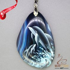 HAND PAINTE DOLPHIN PENDANT FOR NECKLACE GEMSTONE WITH SILVER BAIL ZL807423 #ZL #Pendant