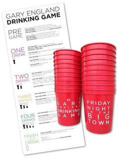 Gary England Drinking Game Cups and Riles on Etsy, $19.95