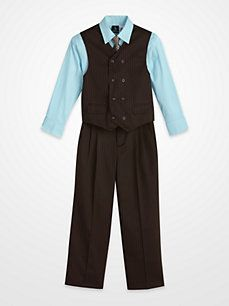 Young Kings by Steve Harvey Brown Multistripe Four-Piece Suit