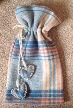 Hand made Vintage Welsh Wool Material Hot Water Bottle Cover With Draw String and Heart Design on Etsy, £15.00