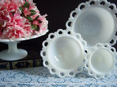 "Lace Edge Milk Glass Compotes - Lace Edge Milk Glass Bowls - Anchor Hocking ""Old Colony"" Lace Edge Milk Glass Bowls - Wedding Milk Glass Westmoreland Glass, Antique Dishes, Vaseline Glass, Holiday Tables, Scalloped Lace, Vintage Glassware, Milk Glass, Anchor Hocking, Glass Bowls"