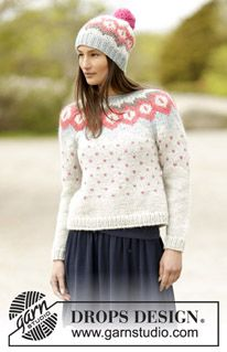 """Winter Poppies - Set consists of: Knitted DROPS jumper with round yoke and Nordic pattern and hat with Nordic pattern and pompom in """"Andes"""". - Free pattern by DROPS Design Fair Isle Knitting Patterns, Jumper Patterns, Sweater Knitting Patterns, Knit Patterns, Free Knitting, Finger Knitting, Drops Design, Laine Drops, Crochet Design"""