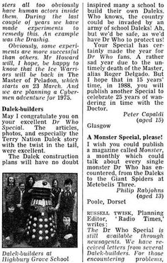 Letter from 15-year-old Peter Capaldi to the Radio Times, about Daleks.