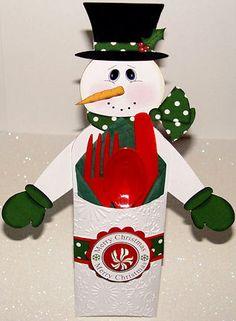 Santa and Snowman Candy Bar Holders  / Utensil Holders Set