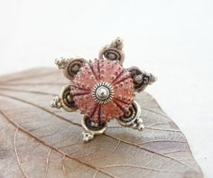 Pink Sea Urchin Flower Ring Beach Jewelry by StaroftheEast on Etsy, $45.00