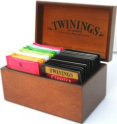 Twinings Mini Wooden Tea Chest Box 24 Variety Tea Bags