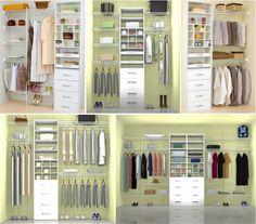 Vrias Opcoes para distribuir as divisorias de roupas no armario