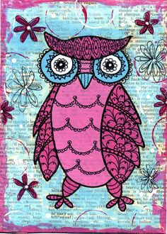 pink owl by dots n' doodles