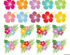 Hibiscus Digital Clipart Hawaiian Flower Clipart by LittleMossEtsy :: Your place to buy and sell all things handmade Hawaiian Birthday, Flamingo Birthday, Flamingo Party, Hawiian Flowers, Festa Moana Baby, Hibiscus Flowers, Lilies Flowers, Cactus Flower, Exotic Flowers