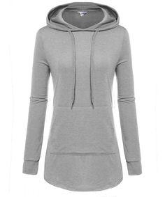 9269c0de7a1 Women s Casual Long Sleeve Pullover Dressy Hoodie Sweatshirt With Kangaroo  Pocket - Grey - C1187KGXLGC
