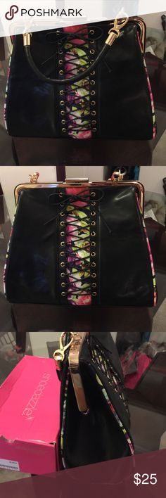 Black bag with floral accent Black bag with floral accent Bags Clutches & Wristlets