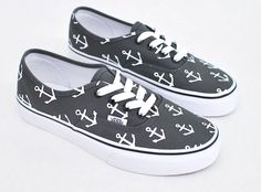 Custom Hand Painted Sailor Nautical Theme Anchor Pattern Charcoal Vans Authentic Shoes - Vans Off The Wall - Made To Order Custom Sneakers
