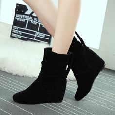 Women's Pure Color Wedge Heel Round Toe Suede Snow Boots on Luulla