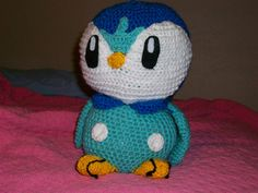 "Piplup should end up being 12"" tall. As for yarn, I used Red Heart, super save with a size G hook, but feel free to use what you want, as long as the stitches are constant. The light blue is called 'Aruba Sea', and the darker blue, 'Blue'."