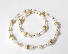 Hochzeit Perlen-Kette Collier  creme-gold von soschoen auf DaWanda.com