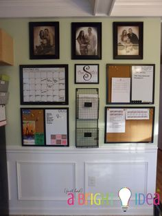 kitchen command center - get organized! I would use a smaller wall and use only 2 of these three columns in my own decorative taste, but this is a start! Good place for a calendar with chores and events, reminders and to-do lists, mail/bills and other important papers. Going to do this ASAP