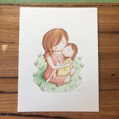 Everything is ok. // watercolour on paper.   On one hand, mama and child. On the other hand, the flash of insight during psychotherapy, as I take care of my littlest self.    #hug #love #therapy #illustration #art #watercolor #kidlitart #whimsyillos #absolutelykatia #katiagl